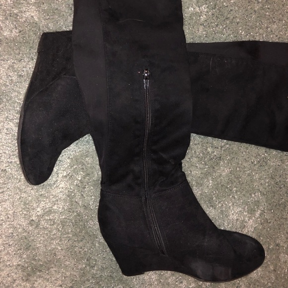410a766b397bd Chinese Laundry Shoes | Knee High Tall Suede Wedge Boots | Poshmark